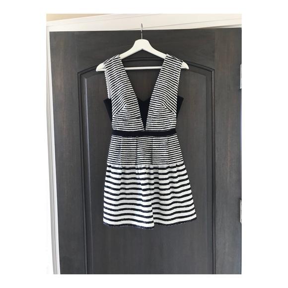 Black and White Stripe Cocktail Dress